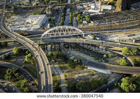 Aerial view of road system in Rio de Janeiro, Brazil