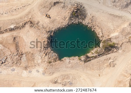 aerial  view of  rock quarry in Poland near Sobotka town - stock photo
