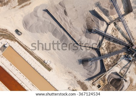 aerial  view of  rock quarry in Poland near Sobotka town