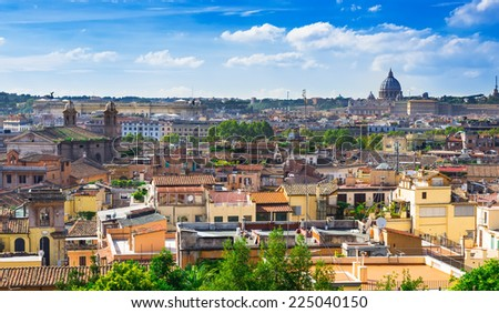 Aerial view of Rome and San Peter basilica, Italy - stock photo