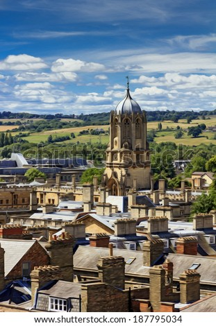 Aerial view of roofs and spires of oxford with green English countryside and blue sky in background, stylized and filtered to look like an oil painting.