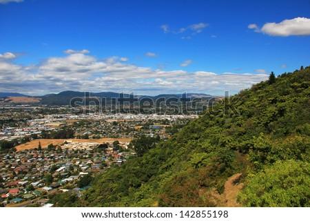 Aerial view of Rotorua, New Zealand - stock photo
