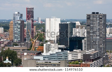 Aerial view of Rotterdam, the Netherlands - stock photo