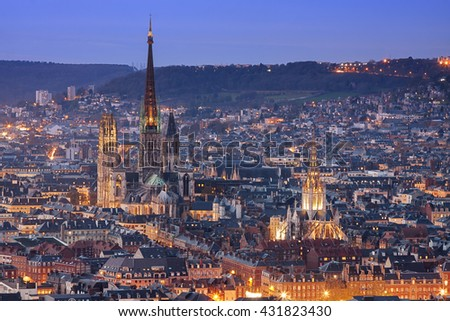 Aerial view of Rouen (Normandy, France) at dusk. - stock photo