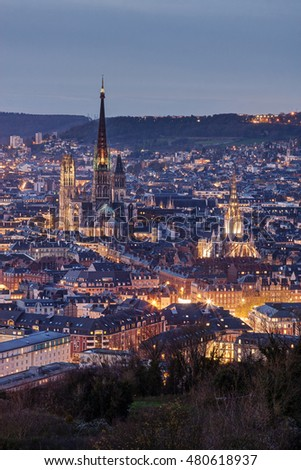 Aerial view of Rouen (Normandy, France) at dusk.