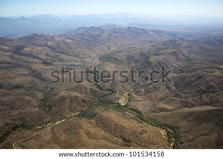 Aerial view of Rugged Arizona terrain from high above - stock photo