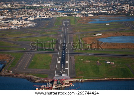 AERIAL VIEW of runway at Logan International Airport, Boston, MA  - stock photo