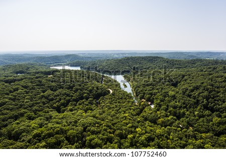 Aerial view of rural mid west missouri - stock photo