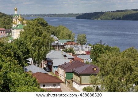 Aerial view of Russian town Ples on the Volga river in Russia - stock photo
