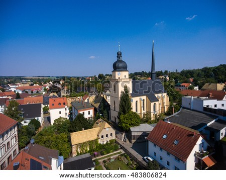 Aerial view of saint annen church goessnitz thuringia germany architecture