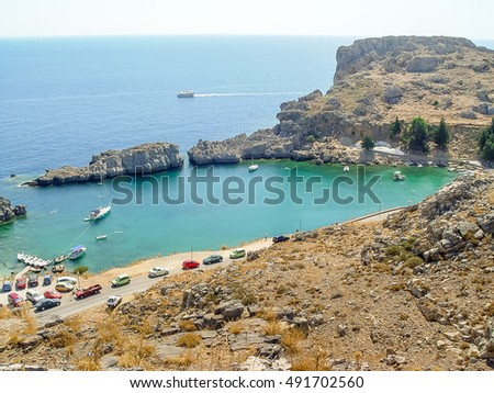 Aerial View of Saint Paul Bay and beach in Lindos at the Rhodes island, Greece.