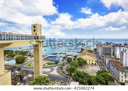 Aerial view of Salvador, Bahia, Brazil. - stock photo