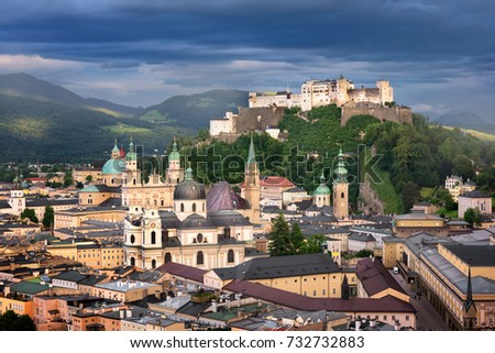 Aerial View of Salzburg in the Evening, Austria