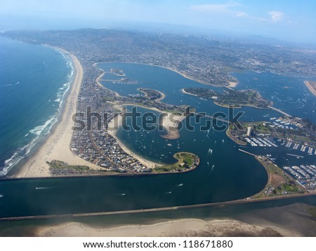 Aerial View of San Diego shore with lakes and residential units, California - stock photo