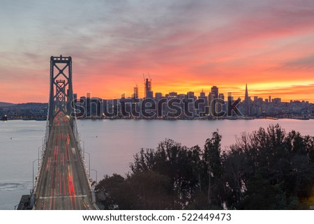 Aerial View of San Francisco-Oakland Bay Bridge and San Francisco Skyline, California