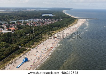aerial view of sandy  beach on Baltic sea in Poland