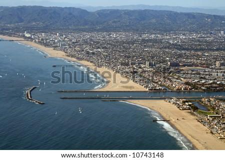Aerial View of Santa Monica and Marina Del Rey, California - stock photo