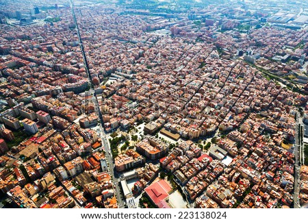Aerial view of Sants-Montjuic residential district from helicopter. Barcelona - stock photo