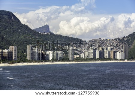 Aerial view of  Sao Conrado with Corcovado at background in Brazil - stock photo