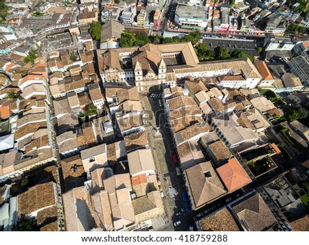 Aerial View of Sao Francisco Church, Anchieta Plaza, Salvador, Brazil - stock photo