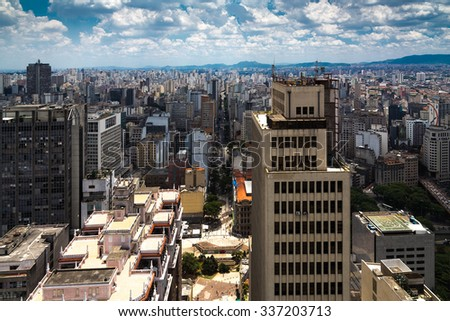 Aerial view of Sao Paulo in Brazil