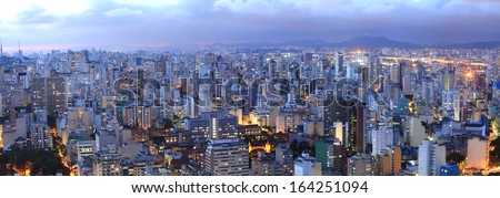 Aerial view of Sao Paulo in the night  time - stock photo