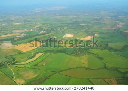 aerial view of Sardinia countryside, Italy - stock photo