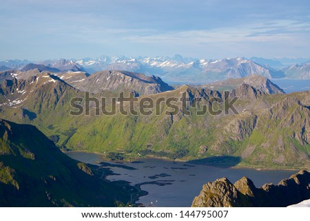 Aerial view of scenic Lofoten islands in Norway in summer with sharp mountain peaks and deep fjords