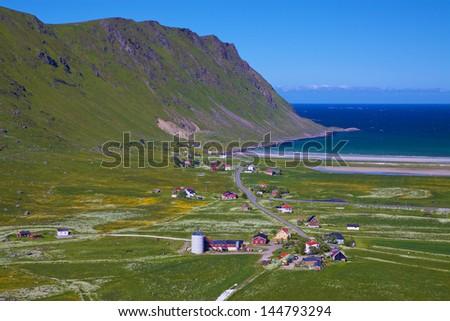 Aerial view of scenic norwegian village on Lofoten islands in Norway - stock photo