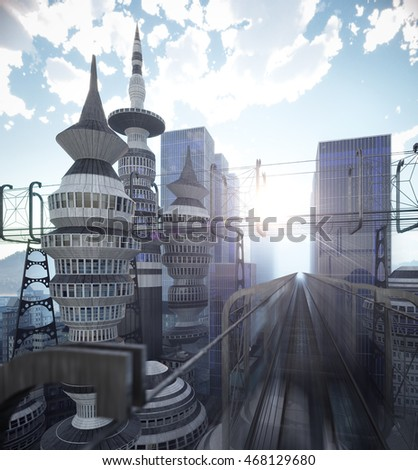 aerial view of Sci Fi City with clouds and sun 3d illustration