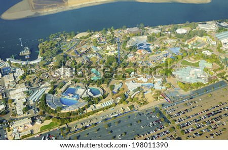Aerial view of SeaWorld, a marine life theme park in San Diego Bay in Southern California, United States of America. A view of the killer whale shamu stadium and the entire park in Mission Bay. - stock photo