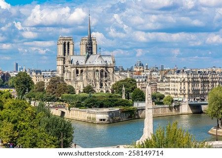 Aerial view of Seine and Notre Dame de Paris in summer day - stock photo