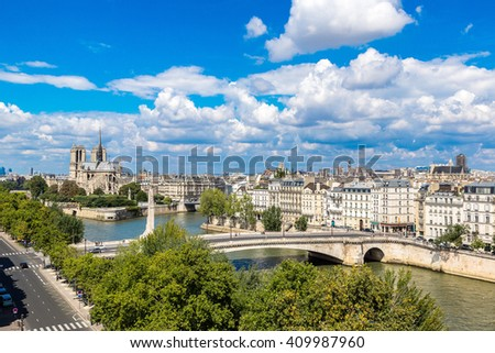 Aerial view of Seine and Notre Dame de Paris in summer day
