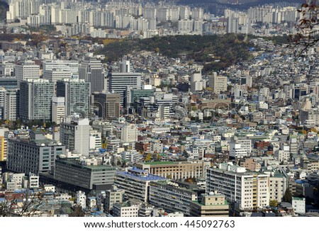 Aerial view of Seoul, the capital of South Koprea