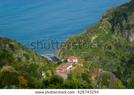 Aerial view of serpentine mountain roads at Madeira island. Typical landscape of island's north shore. Madeira, Portugal.