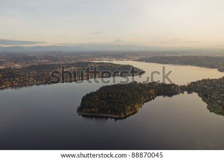 Aerial view of Seward park in Lake Washington at sunset - stock photo
