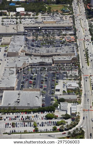 Aerial view of shopping centers