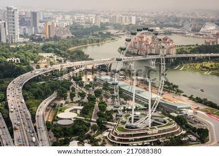 Aerial view of Singapore Flyer - stock photo