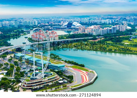 Aerial view of Singapore in Asia - stock photo
