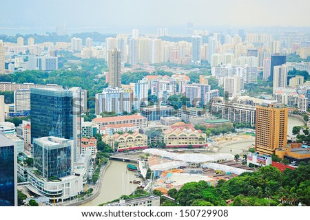 Aerial view of Singapore riverbank in the day