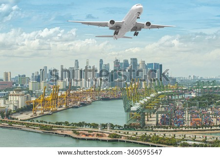 Aerial view of Singapore shipping port with Central Business District, Singapore
