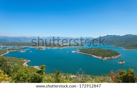 Aerial view of Slansko lake near Niksic, Montenegro.