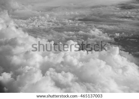 aerial view of soft clouds and sky - black and white