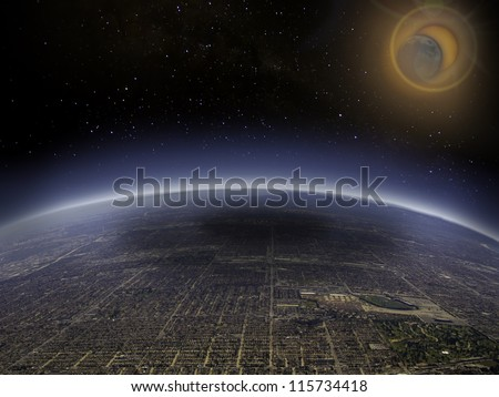 Aerial view of solar eclipse over a large city. Digital manipulation. - stock photo