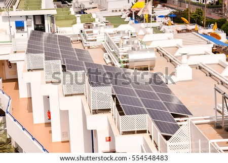 aerial view of solar panels pv cells on a factory roof in spain
