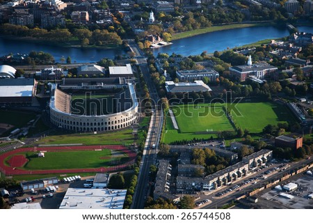 AERIAL VIEW of Soldiers Field, home of Harvard Crimson, Harvard, Cambridge, Boston, MA  - stock photo