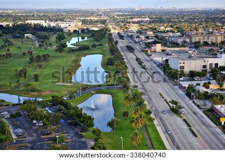 aerial view of south florida urban community