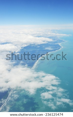 aerial view of South Island from plane in New Zealand - stock photo