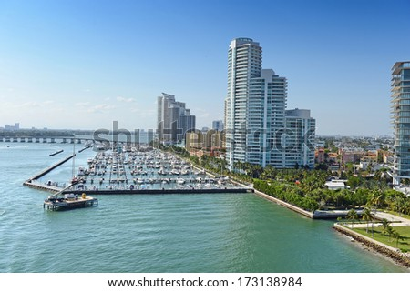 Aerial view of South Miami Beach during sunny day - stock photo