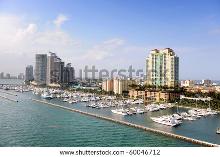 Aerial view of South Miami during sunny day - stock photo